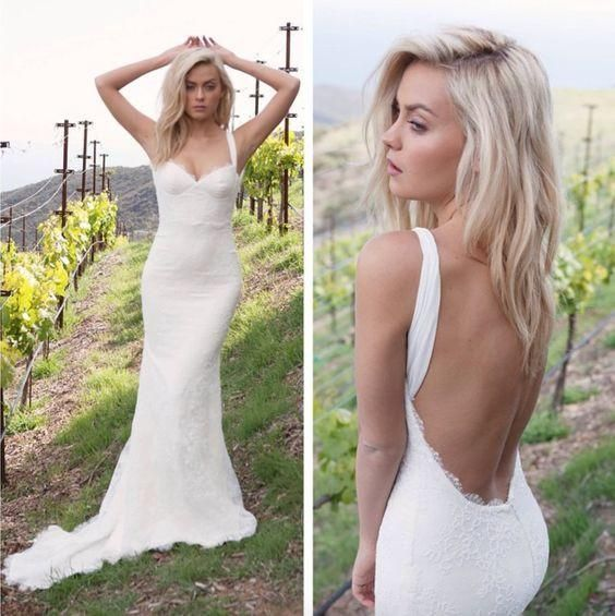 Charming Tight Sweetheart Backless Lace Beach Wedding Dresses Boho BWM1022