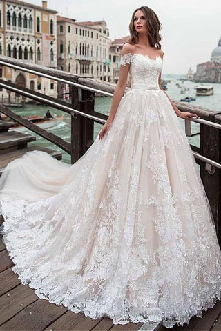 Appliques sleeves V neck  Lace Wedding Dress Ivory Rustic Wedding Dress LU1886