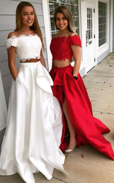 Charming Off Shoulder Two Pieace Lace Bodice Taffeta Skirt Prom Dress With Beads MPD10190