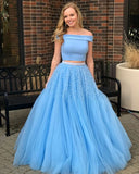 Charming Two Piece Off Shoulder Tulle Skirt Evening Prom Dresses, Affordable Party Prom Dresses With Beaded MPD10193