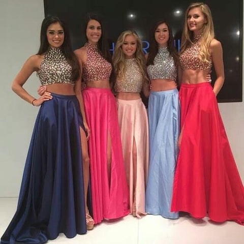 Charming Two Piece Halter Beaded Bodice Evening Prom Dresses, Affordable Satin Party Prom Dresses MPD10194