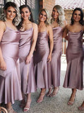 Charming Sheath Spaghetti Strap Lilac Long Bridesmaid Dresses PB20200