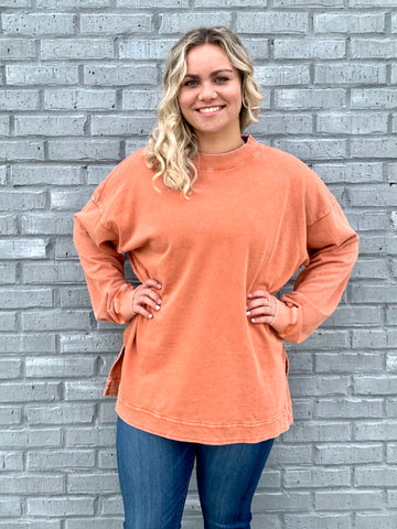 Rust TerryKnit Pullover-EASEL-Sunshine Boutique Camden TN