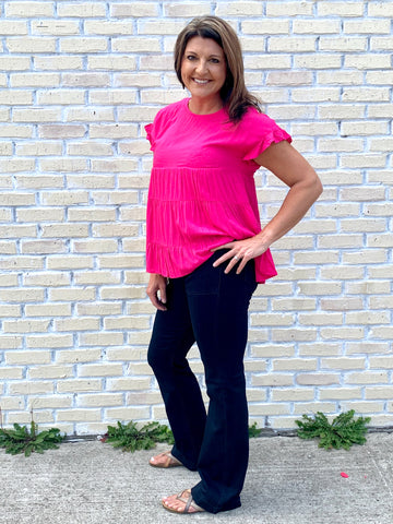Hot Pink Babydoll Top-ANDREE BY UNIT-Sunshine Boutique Camden TN