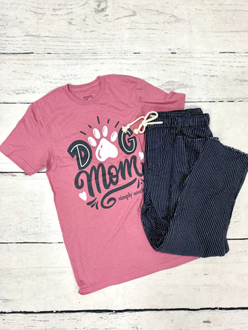 Mauve Dog Mom Tee-SIMPLY SOUTHERN-Sunshine Boutique Camden TN