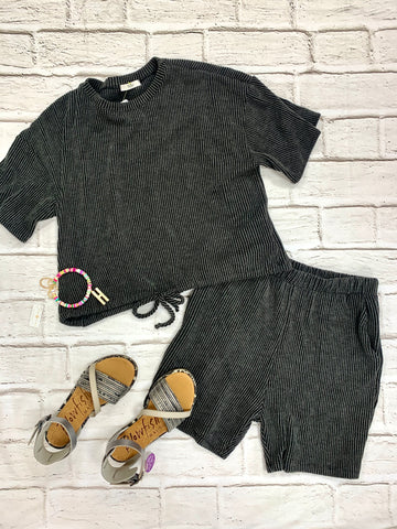 Charcoal Ribbed Shorts- matching top available-TRES BIEN-Sunshine Boutique Camden TN