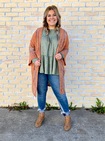 Rust Long Cardigan with Pops of Color-EASEL-Sunshine Boutique Camden TN