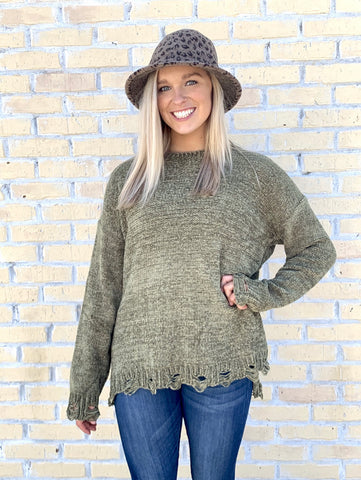 Plus Olive Distressed Soft Sweater-EASEL-Sunshine Boutique Camden TN