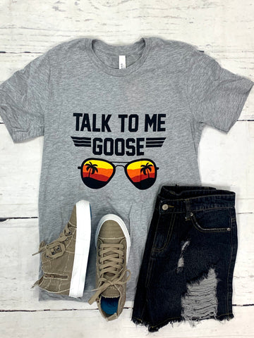 Grey Talk to Me Goose Tee-KISSED APPAREL-Sunshine Boutique Camden TN