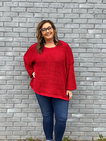 Plus Oatmeal or Brick Exposed Seam Sweater-EASEL-Sunshine Boutique Camden TN