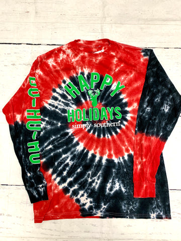 Youth TieDye Santa Truck Tee-SIMPLY SOUTHERN-Sunshine Boutique Camden TN