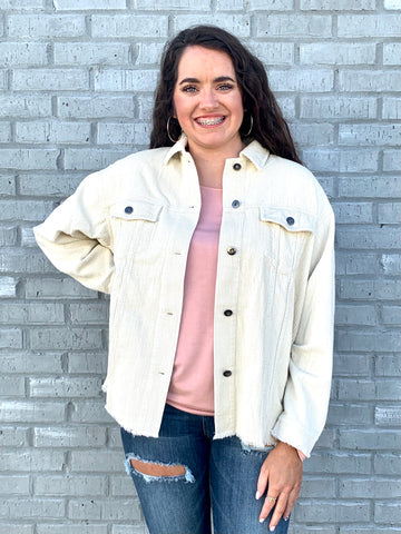 Cream Oversized Corduroy Jacket-GEEGEE-Sunshine Boutique Camden TN