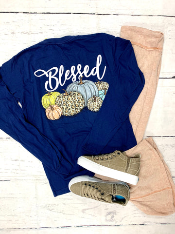 Navy Blessed Pumpkin Tee-JANE MARIE-Sunshine Boutique Camden TN