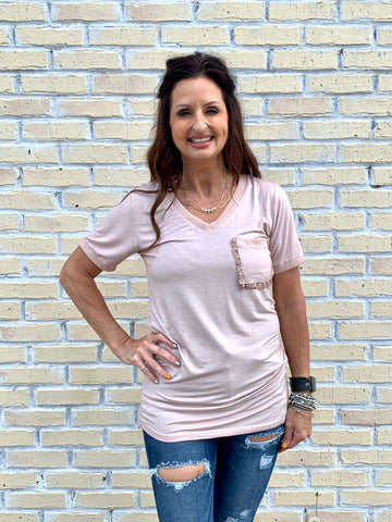 Washed Pocket Tee-POL-Sunshine Boutique Camden TN