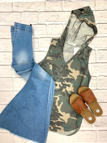 Olive Camo Hooded Tank-TRES BIEN-Sunshine Boutique Camden TN