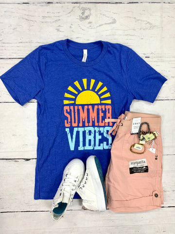Royal Blue Summer Vibes Tee-KISSED APPAREL-Sunshine Boutique Camden TN