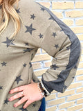 Olive and Grey Star Top-ANDREE BY UNIT-Sunshine Boutique Camden TN