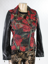 Mesh and Floral Leather Moto Jacket