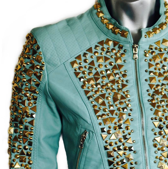 Turquoise Gold Studded Leather Jacket