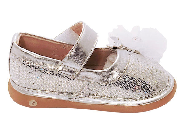 Silver Sparkle Convertible Mary Jane Toddler Squeaky Shoes for Girls - Pickle Footwear