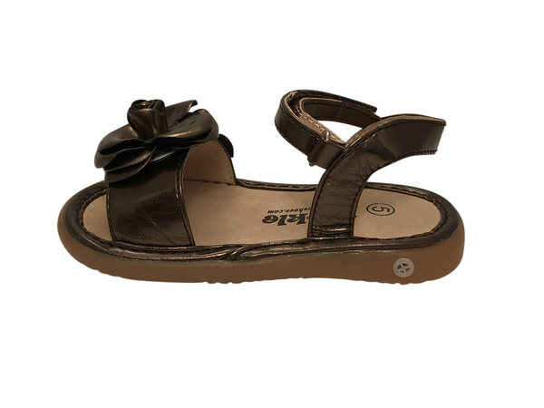 Metallic Brown Toddler Squeaky Sandals for Girls - Pickle Footwear