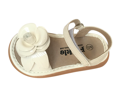 Ivory White Toddler Squeaky Sandals for Girls - Pickle Footwear