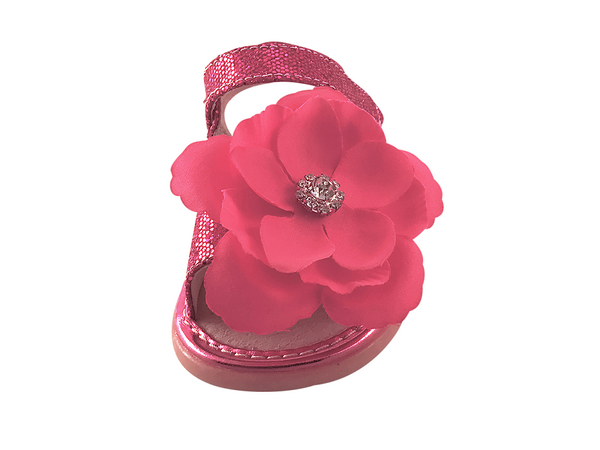 Hot Pink Sparkle Convertible Toddler Squeaky Sandals for Girls - Pickle Footwear