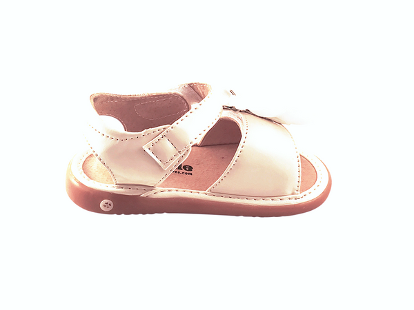 White Patent Convertible Toddler Squeaky Sandals for Girls - Pickle Footwear