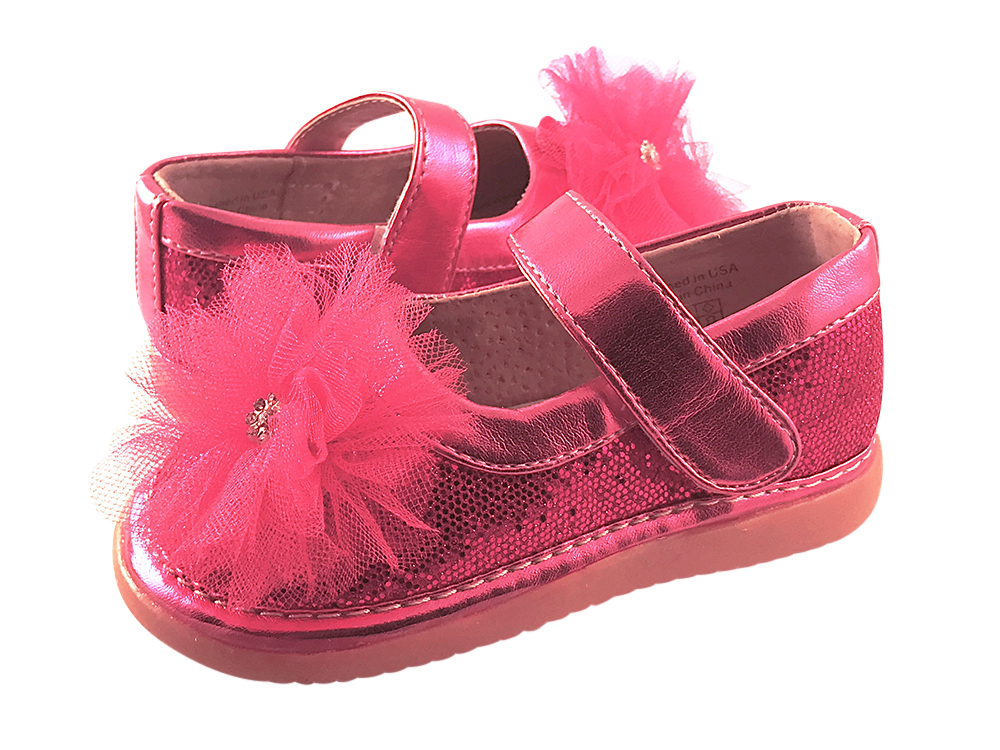 Hot Pink Sparkle Convertible Mary Jane Toddler Squeaky Shoes for Girls - Pickle Footwear