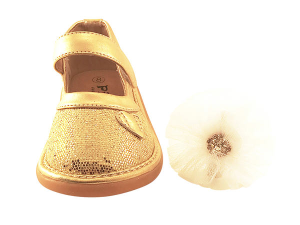 Gold Sparkle Convertible Mary Jane Toddler Squeaky Shoes for Girls - Pickle Footwear
