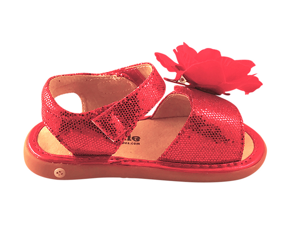 Red Sparkle Convertible Toddler Squeaky Sandals for Girls - Pickle Footwear