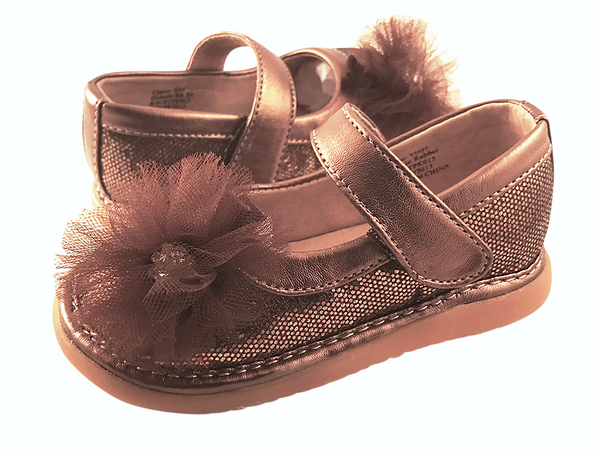 Bronze Sparkle Convertible Mary Jane Toddler Squeaky Shoes for Girls - Pickle Footwear