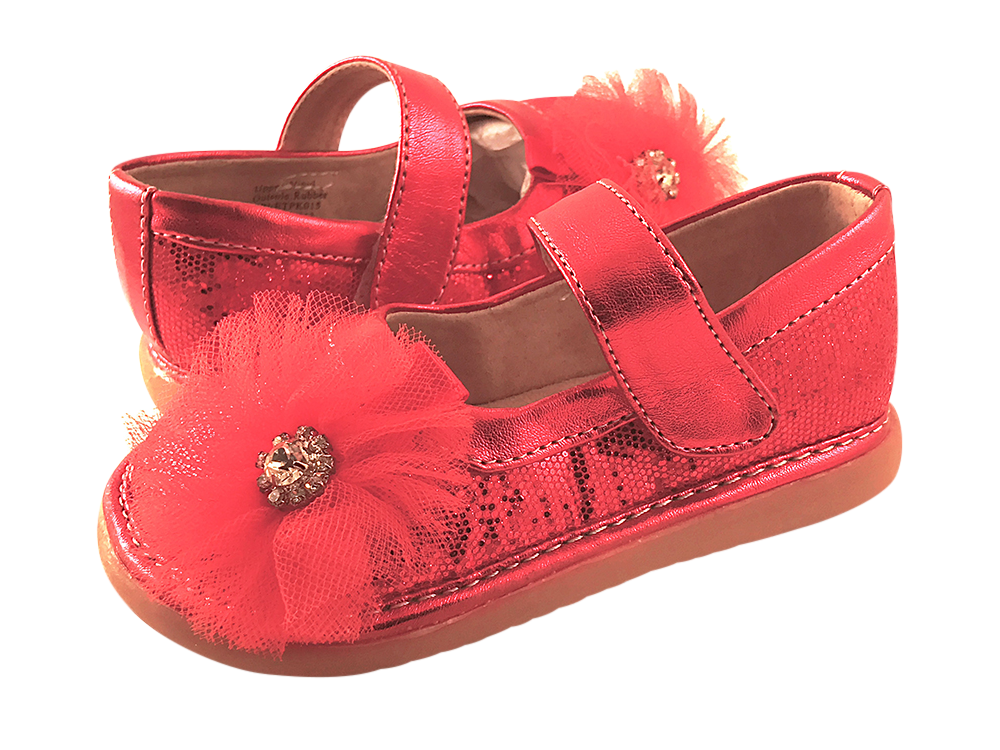 Red Sparkle Convertible Mary Jane Toddler Squeaky Shoes for Girls - Pickle Footwear