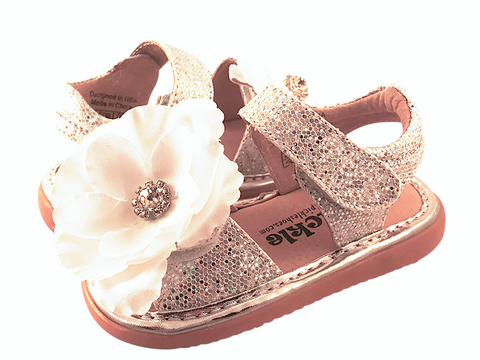 Silver Sparkle Convertible Toddler Squeaky Sandals for Girls - Pickle Footwear