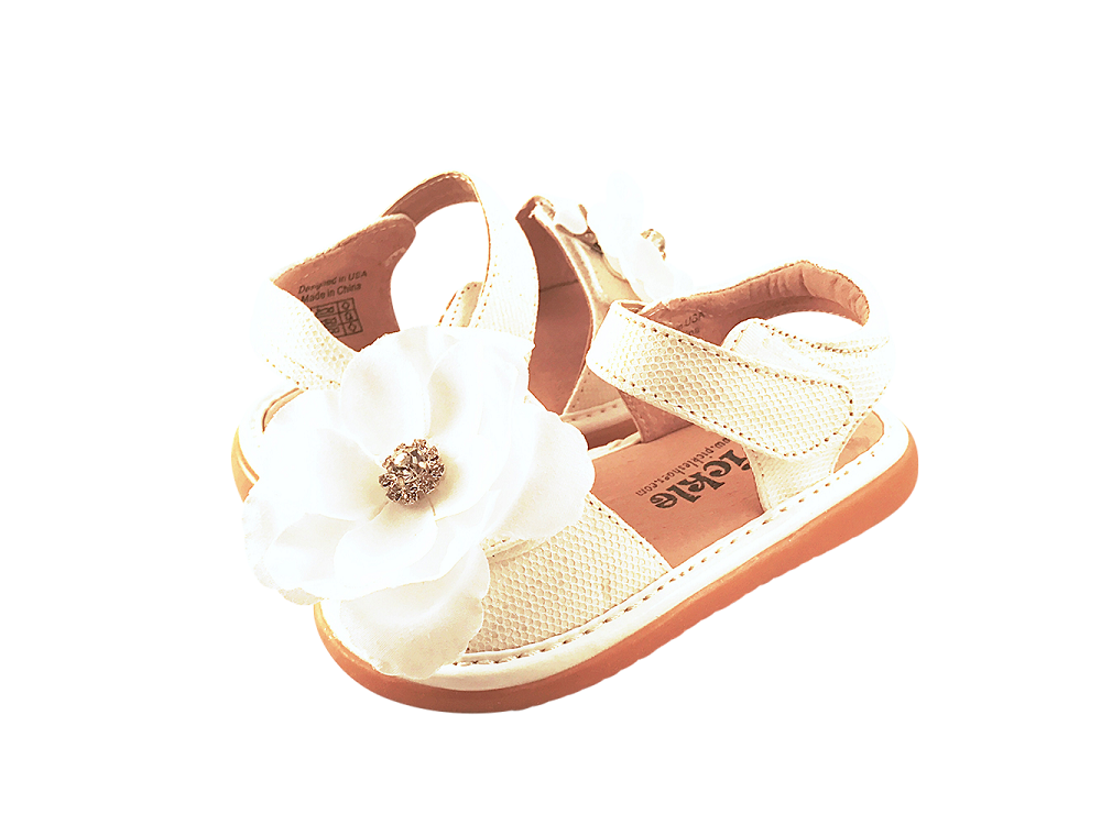 White Sparkle Convertible Toddler Squeaky Sandals for Girls - Pickle Footwear