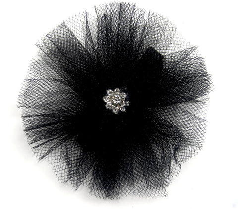 black tulle flower clip for convertible mary jane by Pickle shoes