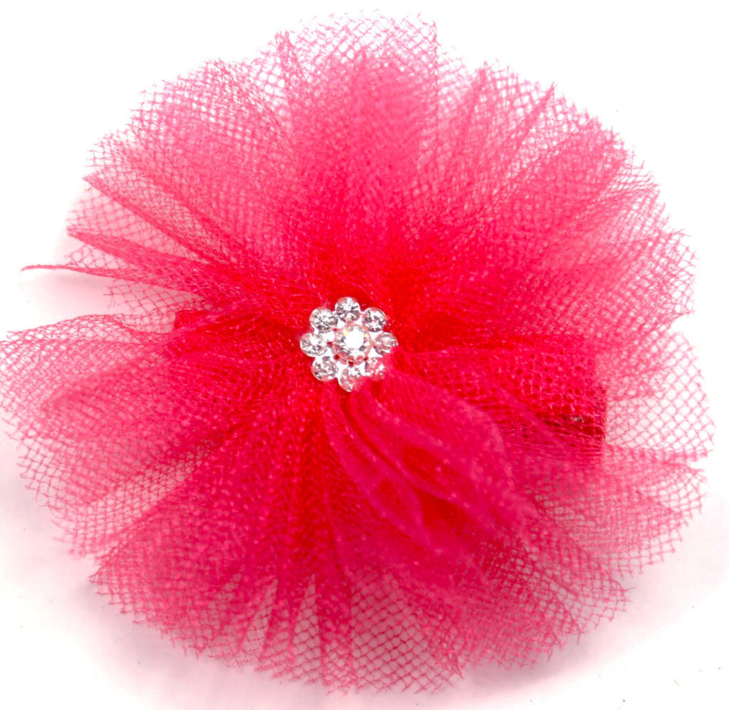 Hot Pink Tulle Handmade Accessory Clip (pair) - Pickle Footwear