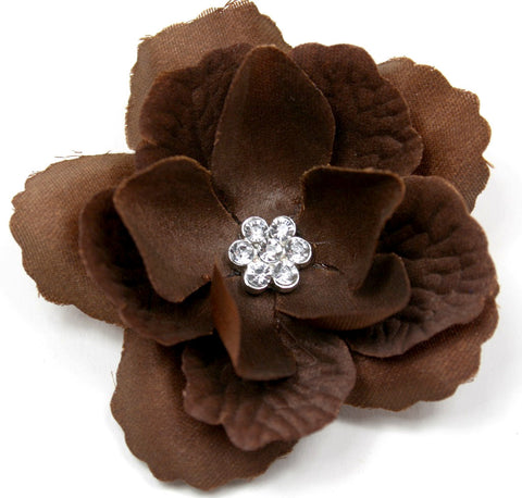 Brown 3-Layer Flower Accessory Clip (pair) - Pickle Footwear