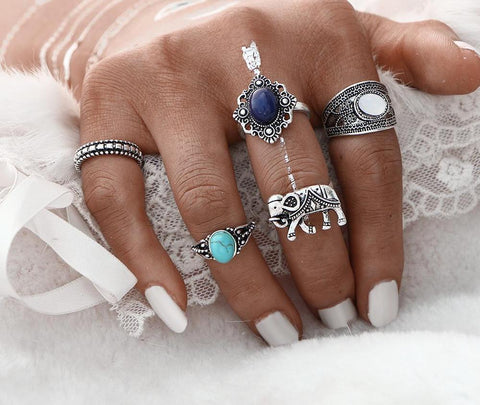 Elephant Charm: Stackable Rings Stacking Ring Set Layering Rings - venerandum