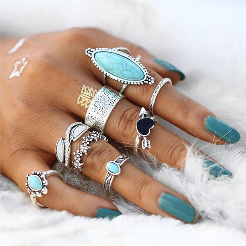 Blue Stone: Stackable Rings Stacking Ring Set Layering Rings - venerandum