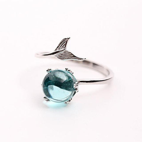 Crystal Blue Mermaid Bubble Ring- 925 Sterling Silver - venerandum