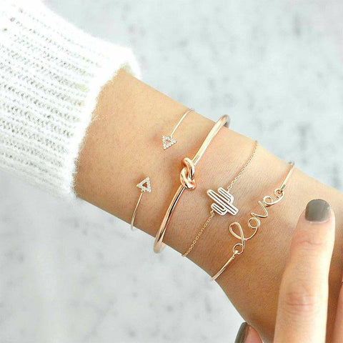 Love Arrow Triangle Knot Cactus Chain Bangle Set - venerandum