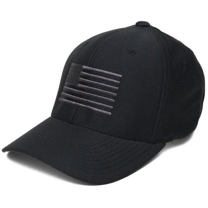 Black / Gray; Pipe Hitters Union American Flag Moist Wicking Hat - HCC Tactical