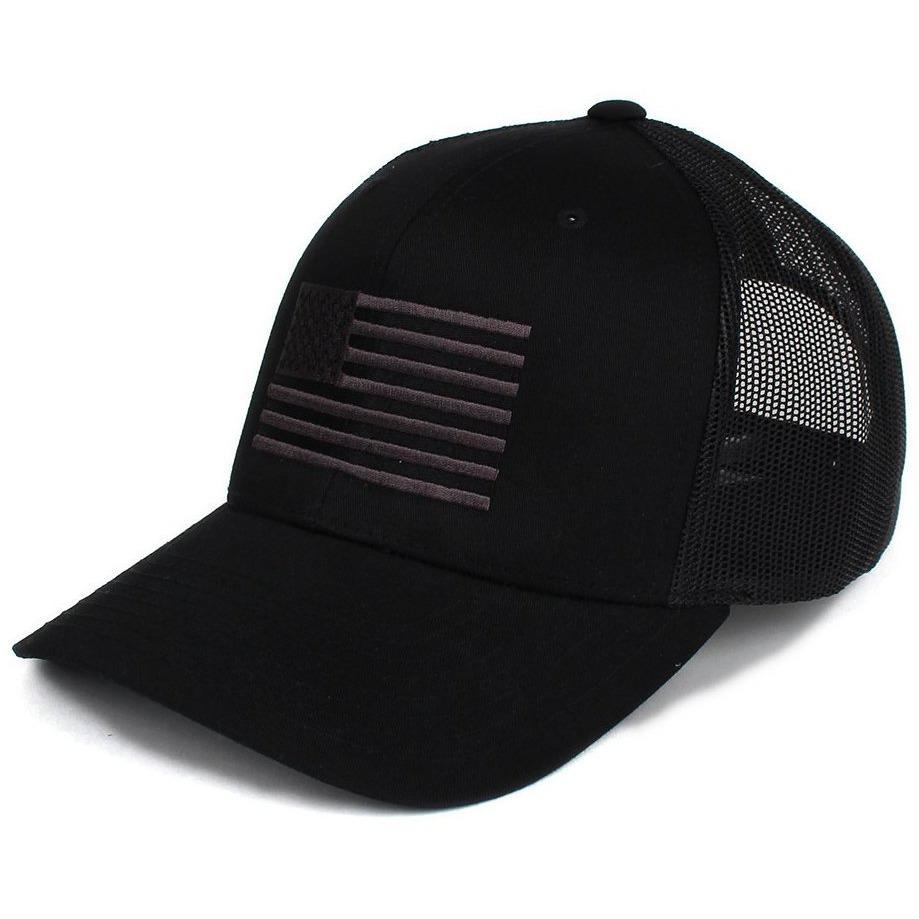 Black / Gray; Pipe Hitters Union American Flag Trucker Hat - HCC Tactical