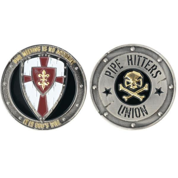 White / Red; Pipe Hitters Union God's Will Challenge Coin - HCC Tactical