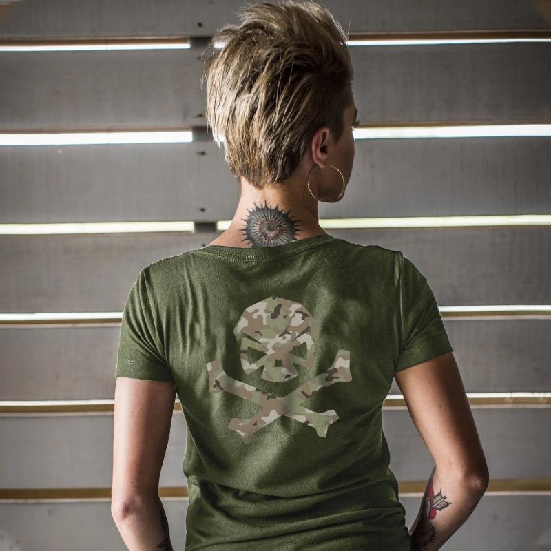 Green / Green Multicam; Pipe Hitters Union Multicam Logo Womens Tee Crew - HCC Tactical