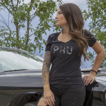 Black / Gray Multicam; Pipe Hitters Union Multicam Logo Womens Tee V-Neck - HCC Tactical