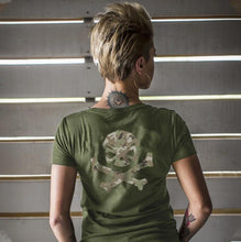 Green / Green Multicam; Pipe Hitters Union Multicam Logo Womens Tee V-Neck - HCC Tactical