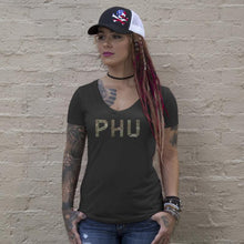 Black / Green Multicam; Pipe Hitters Union Multicam Logo Womens Tee V-Neck - HCC Tactical