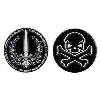 Black / Gold; Pipe Hitters Union People Sleep Peacefully Challenge Coin - HCC Tactical